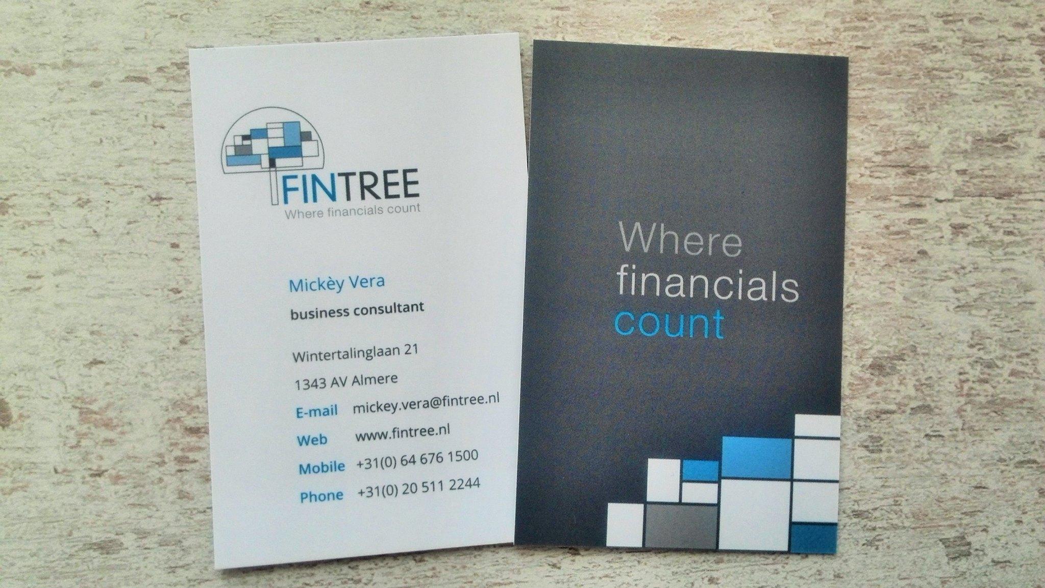 FinTree - uitvoering communicatie - visitekaartjes