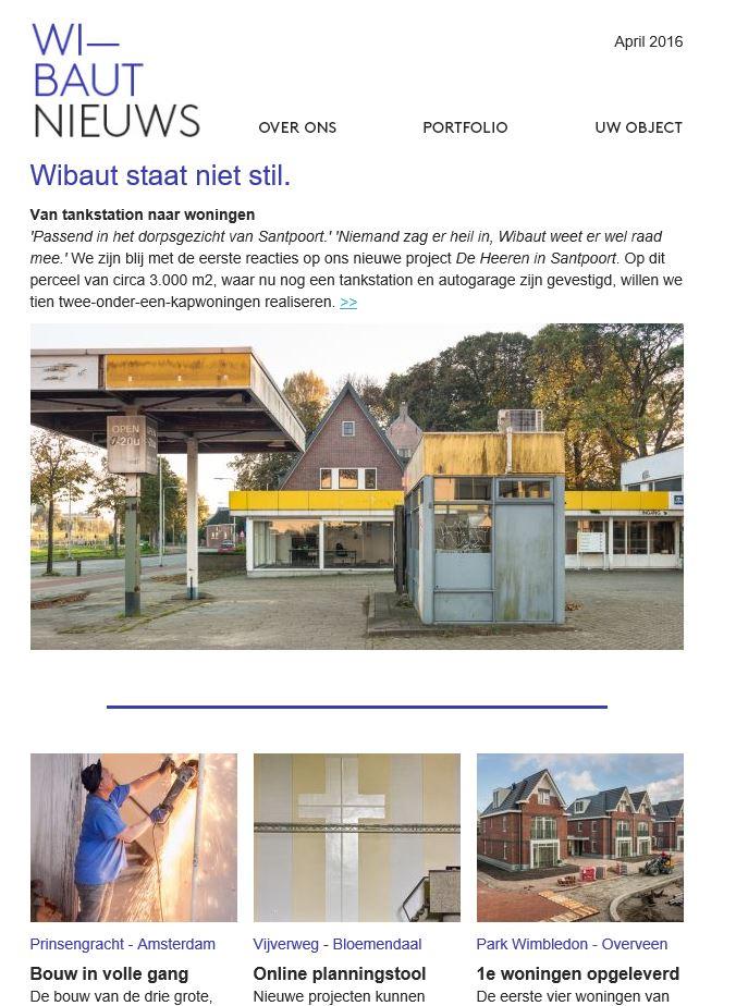 Wibaut - coordinatie communicatie - nieuwsbrief april